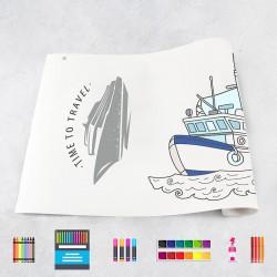 Zeichnungen auf Rolle Boote