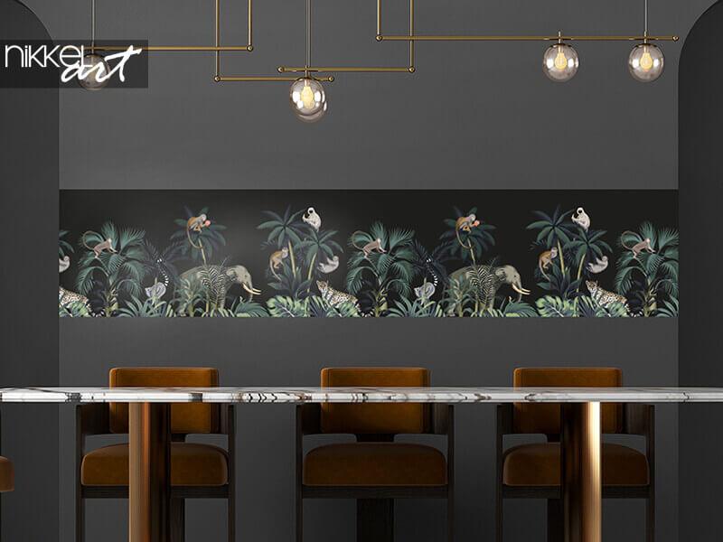Tapeten Tropische Nacht Vintage wilde Tiere Elefant, Affe, Faultier, Palme
