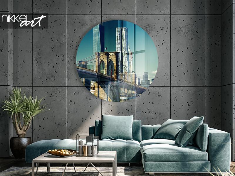Runde Wanddekoration acrylglas skyline von Manhattan