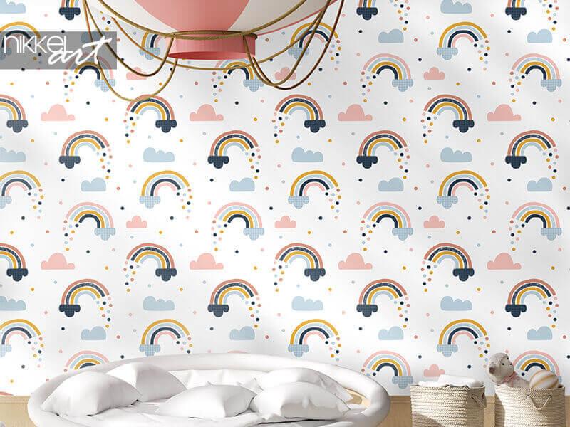 Tapeten nahtloses abstraktes Muster mit handgezeichneten Regenbogen, Regentropfen und Wolken