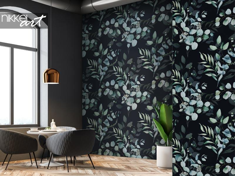 Tapeten Nahtloses Aquarell Blumenmuster - grüne Blätter und Zweige