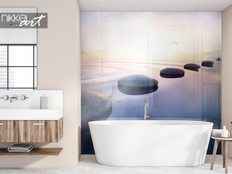 Ein Foto Rückwand   schafft zusätzliche Atmosphäre im Badezimmer