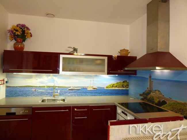 Küchenrückwand aus Glas mit Foto nach mass