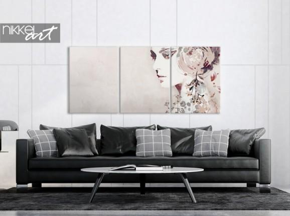 Abstraktes Porträt auf Leinwand in 3 Teilen