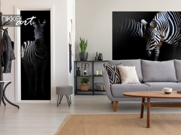 Zebra auf Tür und Wandaufkleber
