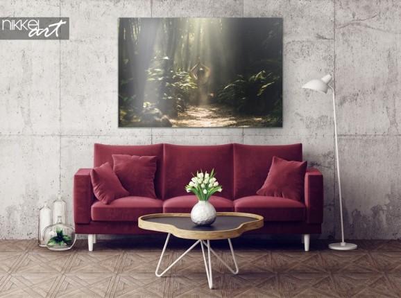 Exotischer Innenraum mit Bambusregenwald auf Aluminium