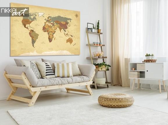 Foto auf Alu-dibond Weltkarte