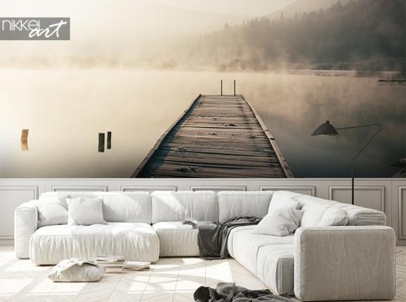 Nebliger See auf Fototapete