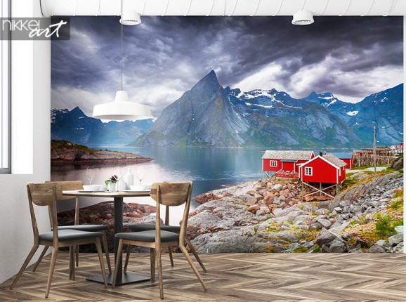 Wandgemälde Berghütte