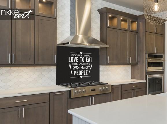 Küchenrückwand aus Glas mit Zitat