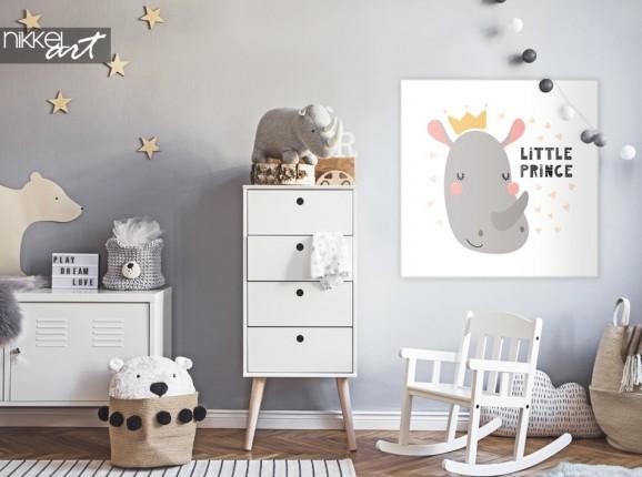 Kinderzimmer mit Illustration Rhino auf Leinwand