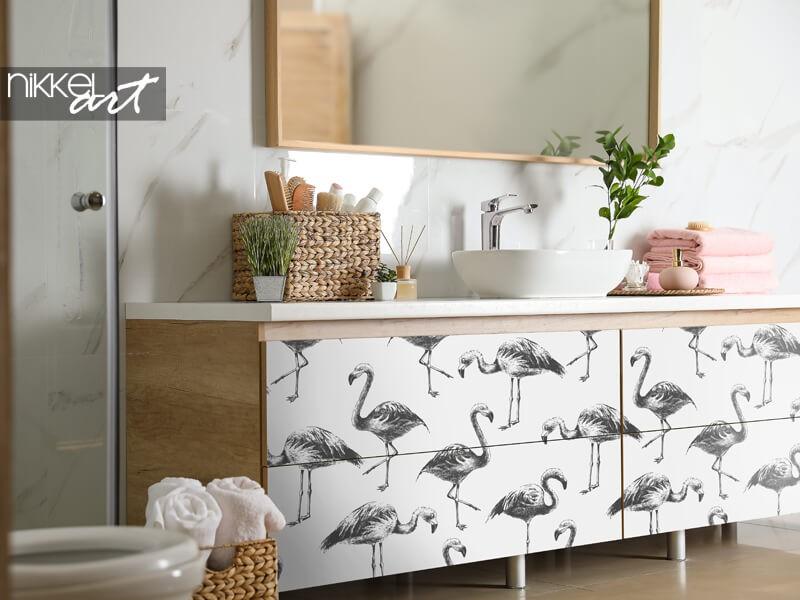 Möbelaufkleber mit Flamingos
