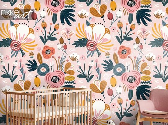 Blumentapete Kinderzimmer