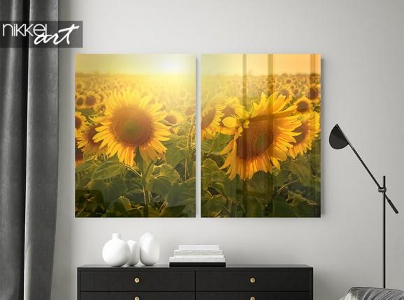 Acrylglas-Diptychon mit Sonnenblumen