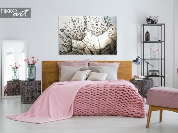 Schlafzimmer mit Foto Löwenzahn auf Leinwand