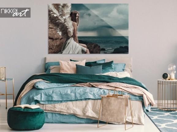 Schlafzimmer mit Photo Angel Lady auf Acrylglas