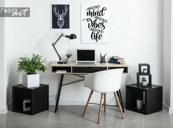 Arbeitszimmer mit Foto auf Leinwand Motivzitat