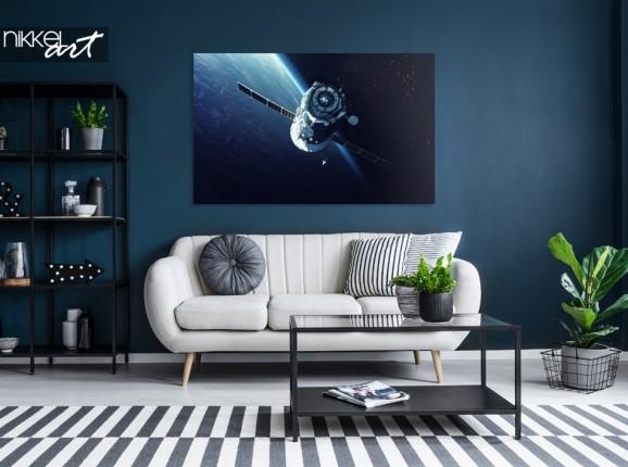 Wohnzimmer mit Photo Spacecraft auf Aluminium
