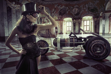 Fancy clothed woman with retro car