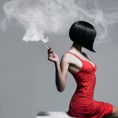 Elegant lady with cigarette