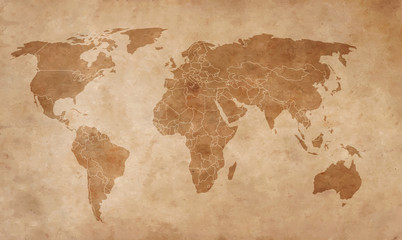 world map on an old piece of paper
