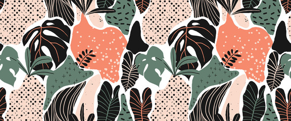 Seamless pattern, hand drawn abstract plant, leaf , Split leaf Philodendron, green and pink tones on white background