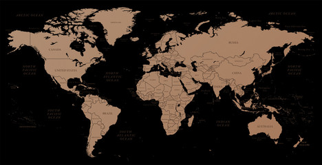 High detailed copper-textured world map illustration with borders, oceans and countries.