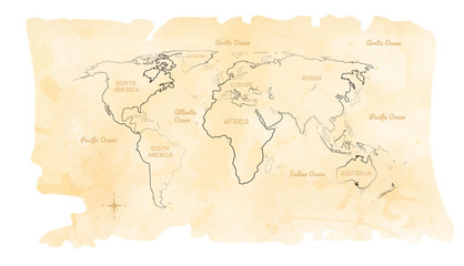 World watercolor map on old paper