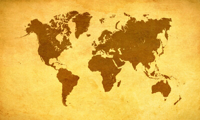 World map on old paper grunge background
