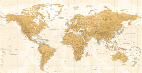 World Map - Vintage Physical Topographic - Vector Detailed Illustration